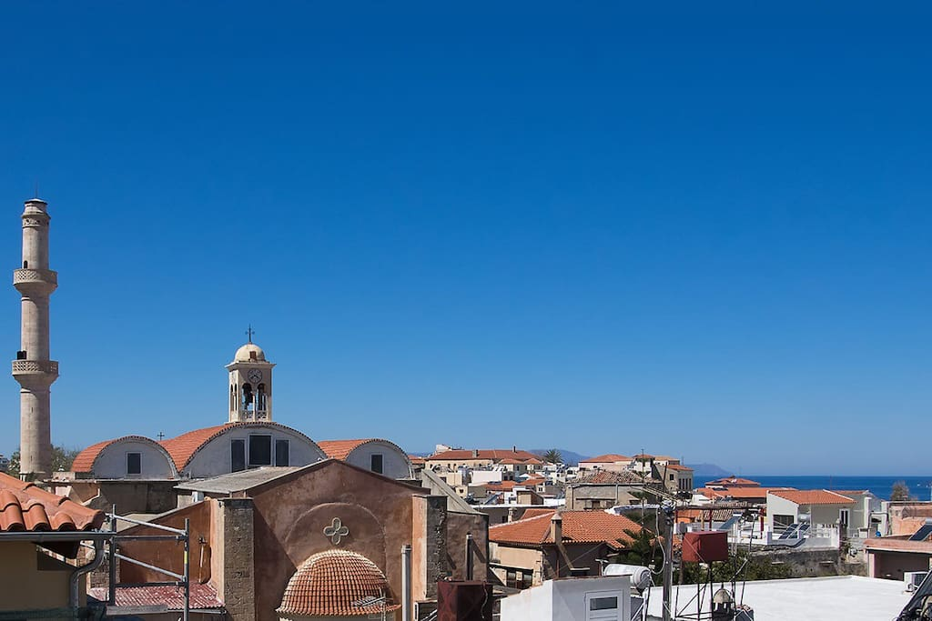 Wonderful sea-views and town-views from our terrace