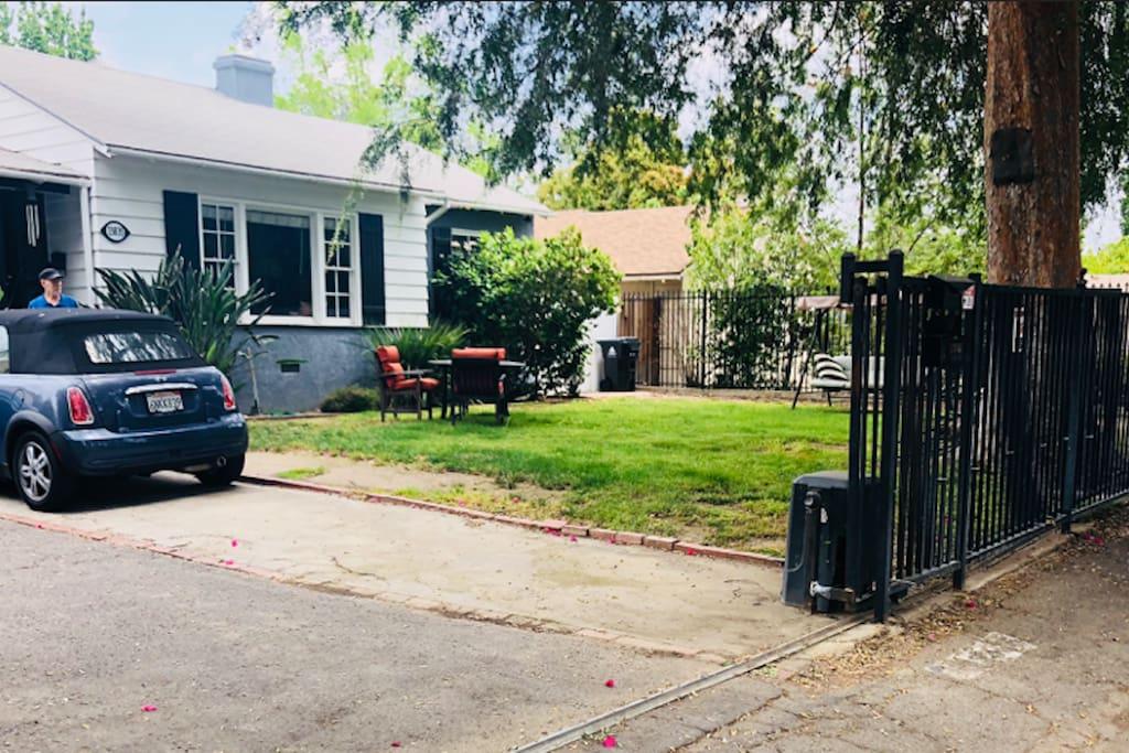 Front lawn, motorized entrance gate
