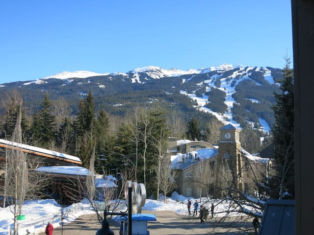 Spectacular winter views of Whistler from the deck/unit over looking Village Olympic Park
