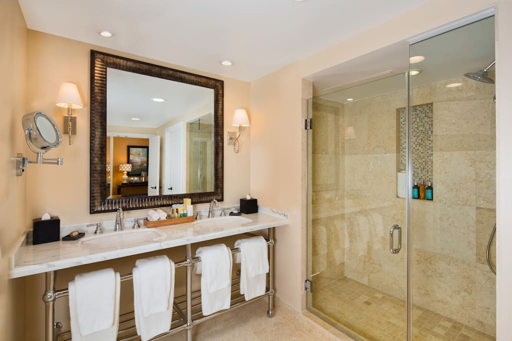 Get ready for your day in the gorgeous bathroom!