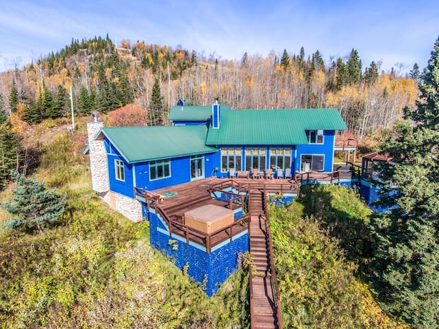 Blue House is a recently updated luxury home located on Lutsen Mountain with a views of Lake Superior from nearly every room