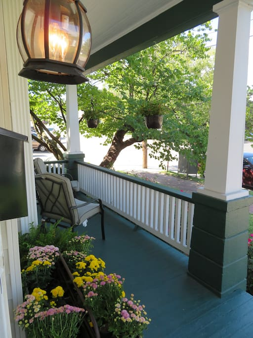 The front porch is the perfect place to enjoy you morning coffee.