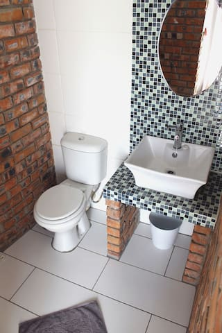 The en-suite bathroom comprises a shower, toilet, and basin.