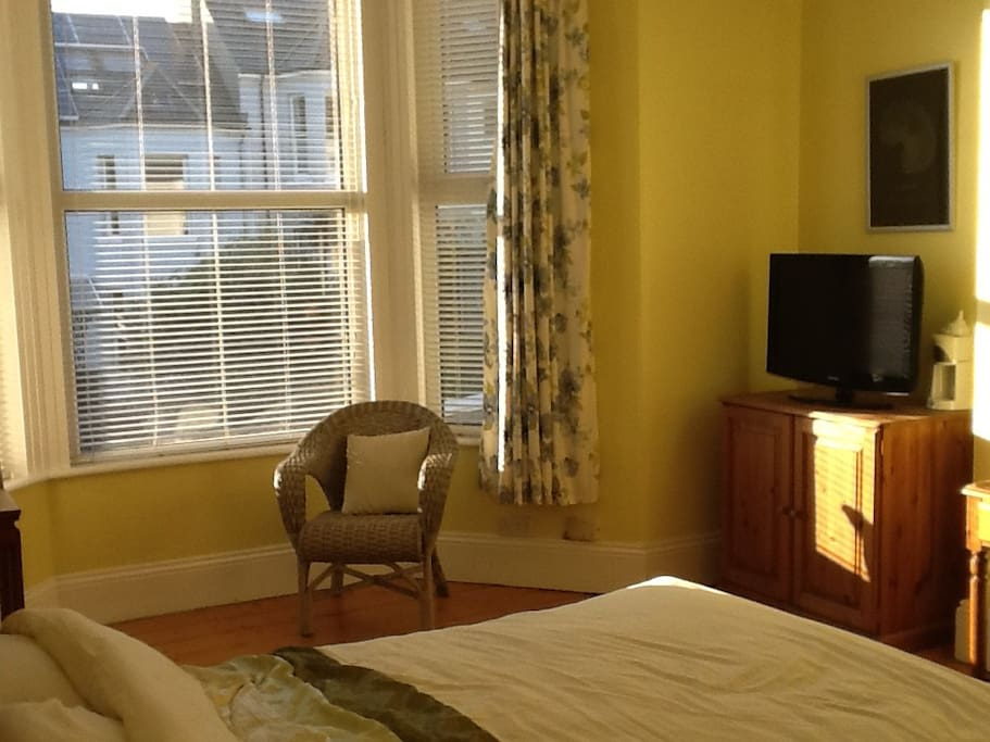Light, airy and spacious double room with TV