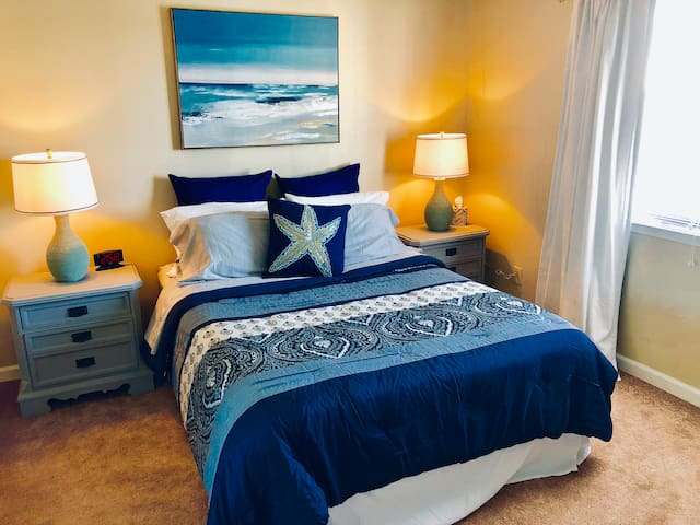 Master bedroom with beach feel.