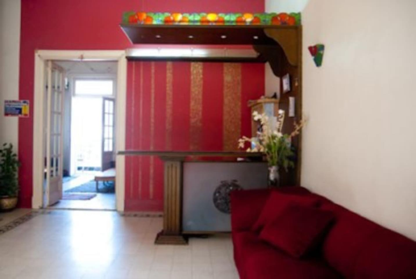 hostel common room and the lobby