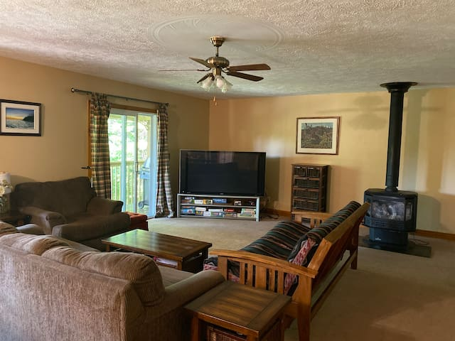 Living room with futon, television, DVD player, HDMI hook up and games