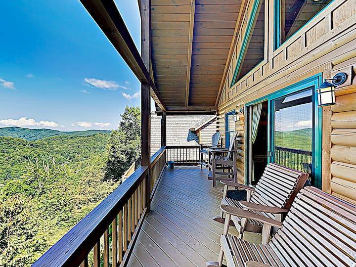 Scenic Wolf Cabin w/ Hot Tub, Sauna & Deck Views!