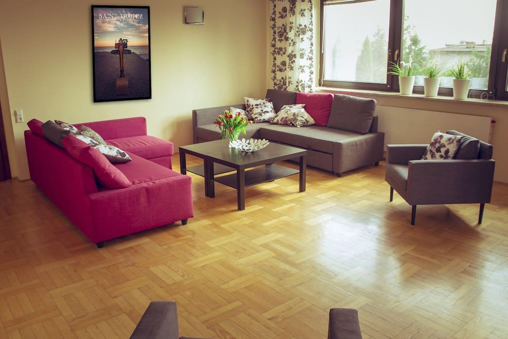 Jasny, przestronny salon z rozkładanymi sofami