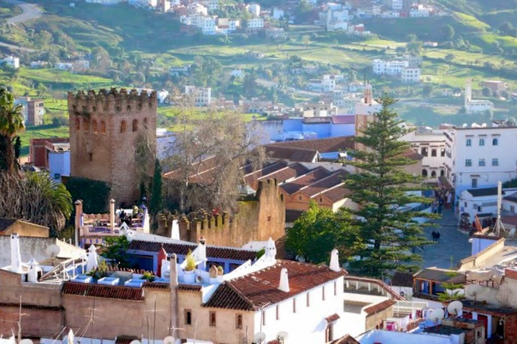 the beautiful view of Chefchaouen from the terrace.