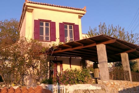 Houses, view & sunset in Aegean Sea - Vathy, Samos Town - Rumah