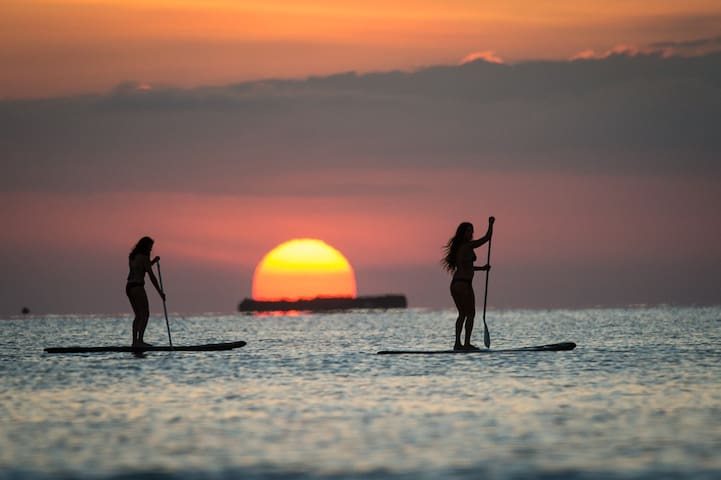 Stand Up paddle boarding at sunrise on Tambor Bay