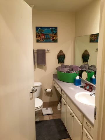 Full bathroom with tub/shower.