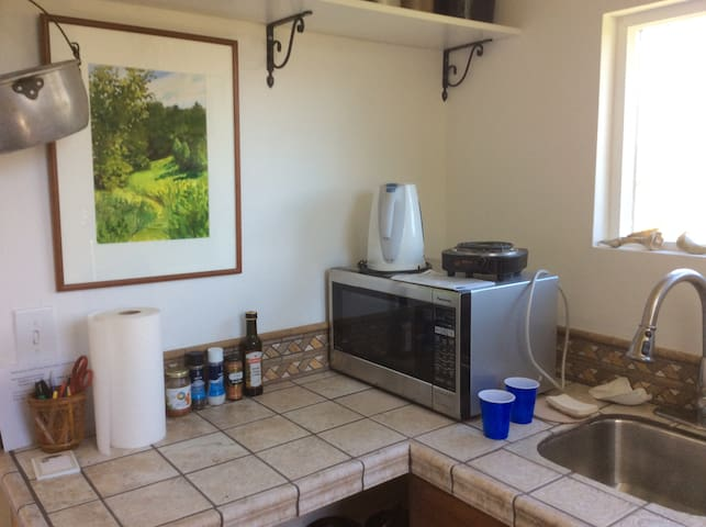 Kitchenette includes fridge/freezer, toaster,microwave,  one burner, hot water pot, French press coffee maker, all glassware, dishes, utensils.  Grill is outside
