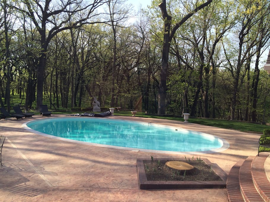 Heated pool in the woods for use