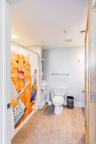 We also provide a full size bathroom, and this awesome cat buddy for ya at the other end of the apartment.