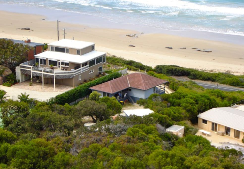 'Kawana' Beach House is the house with the brown-tiled roof.