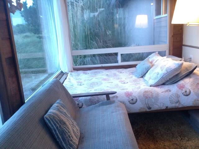 guest bed in sunroom