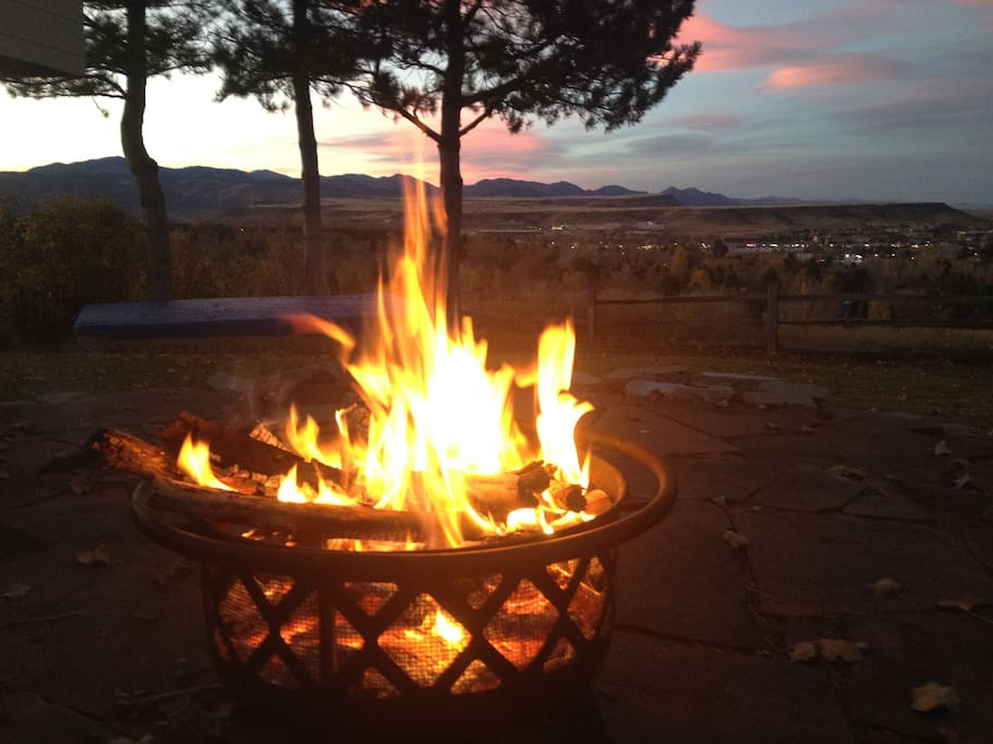 Relaxing fire at sunset