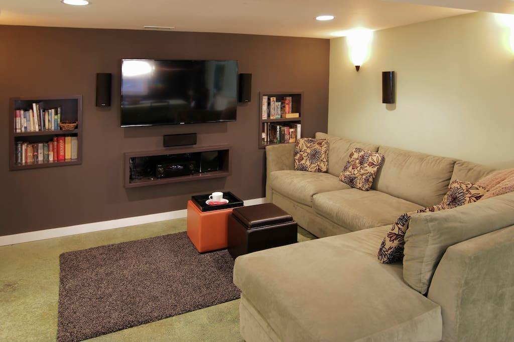 Private living room surround sound TV