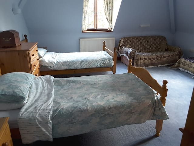 Large twin bedded room with en suite