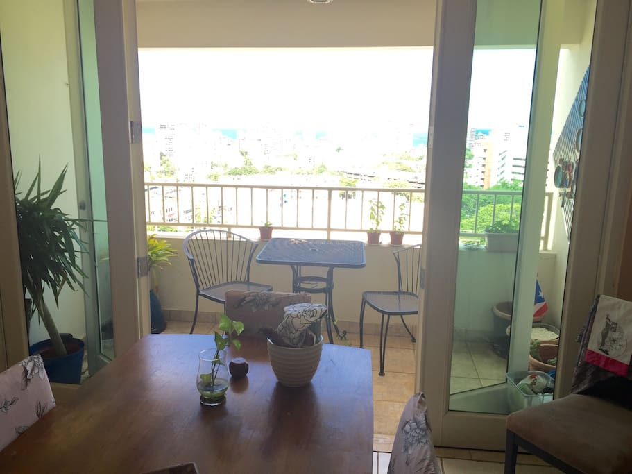 Breakfast table in balcony