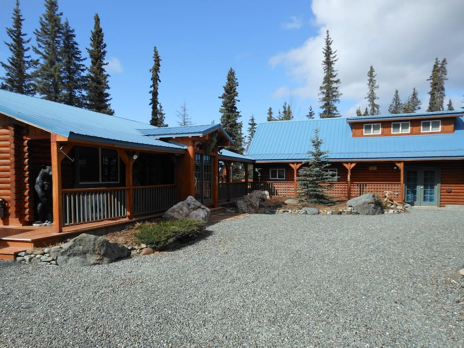 2 separate log homes, shared property