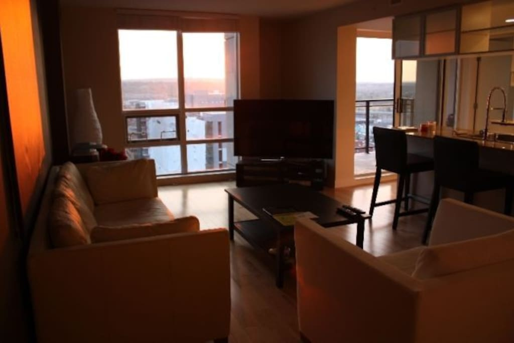 living room area, fit with 60 inch HD TV Comes with 120 tv channels 21 in HD. Huge windows