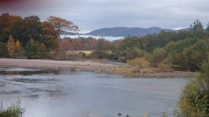 Cabin on banks of river spey,Aviemore