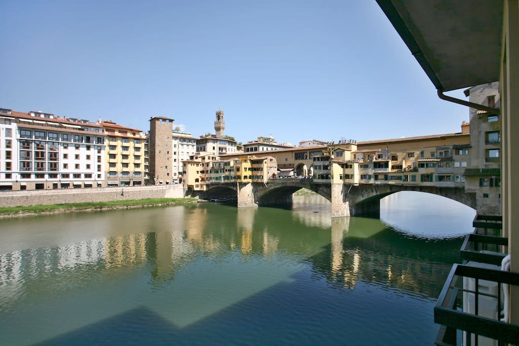 On the right side: view on Ponte Vecchio from the apartment