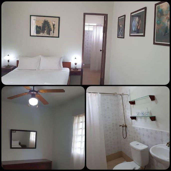 Habitación 1. 1 cama full size con baño privado capacidad maxima 2 pax.