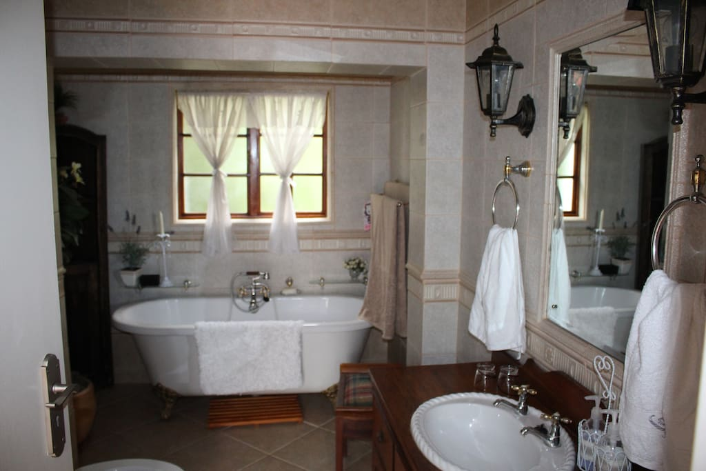Bath, shower, toilet and basin in antique cupboard close to bedroom