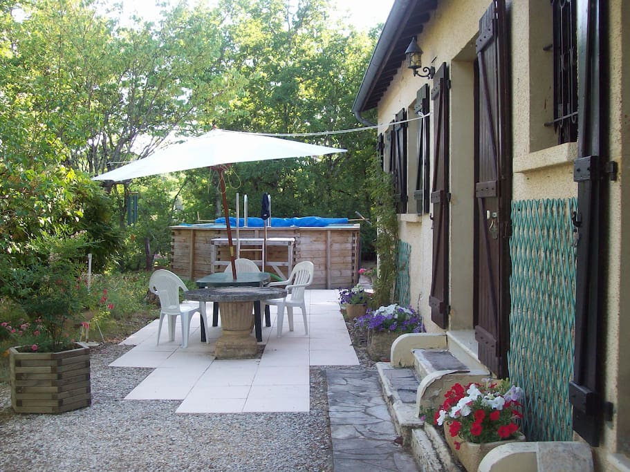 Sun terrace with 7m x 4m pool. Plenty of chairs, loungers  & towels. provided