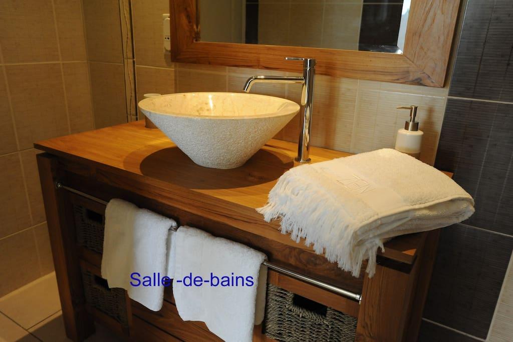 Salle -de-bains, meubles en teck, douche à l'italienne