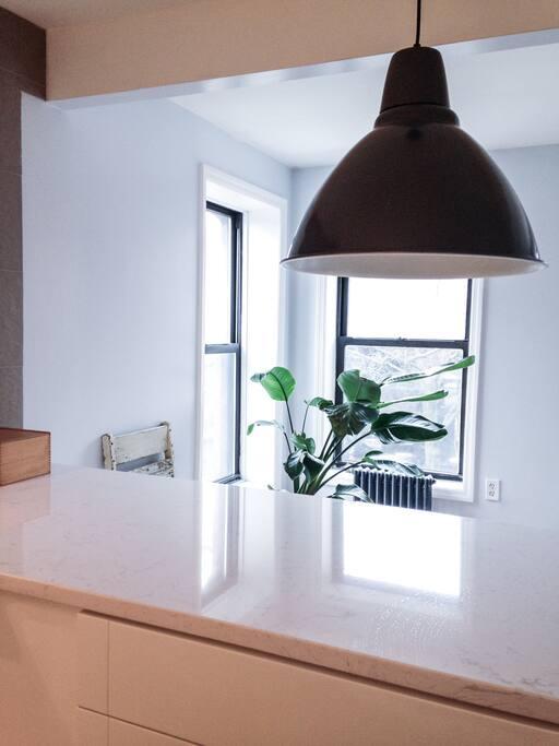 Open kitchen.  White granite counters.