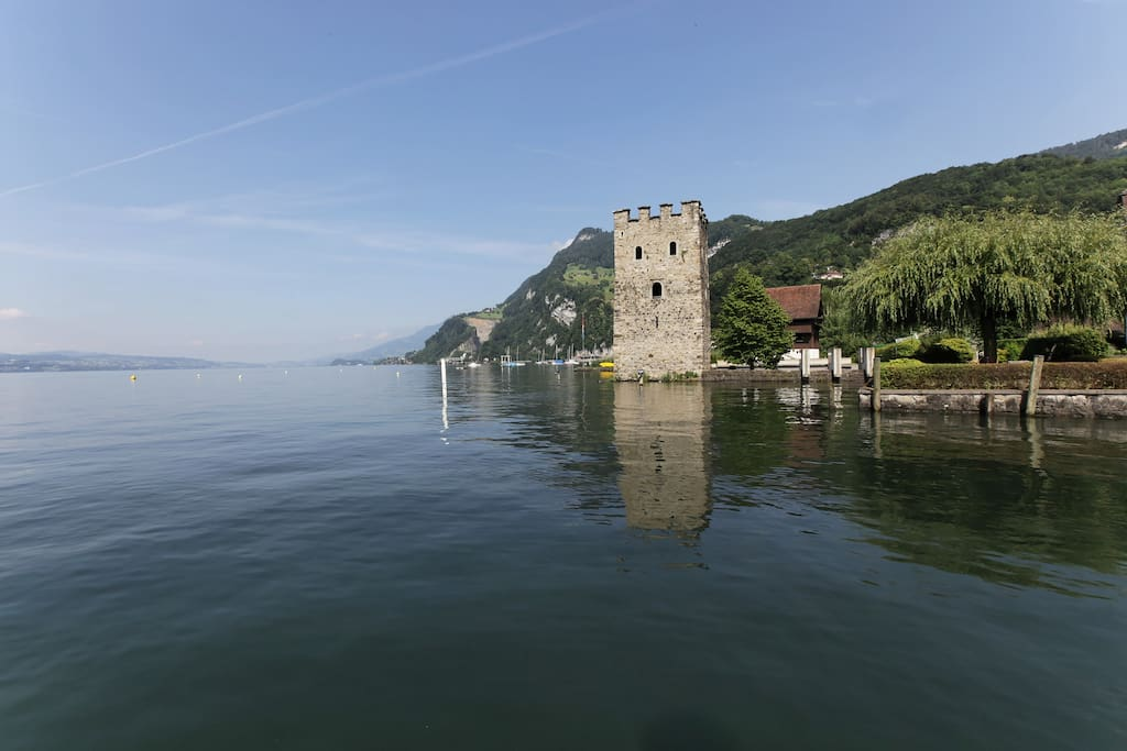 Standort Stansstad: Blick auf den See und den Schnitzturm