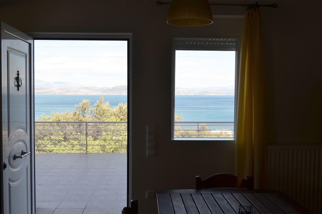 Dining area, veranda, sea view