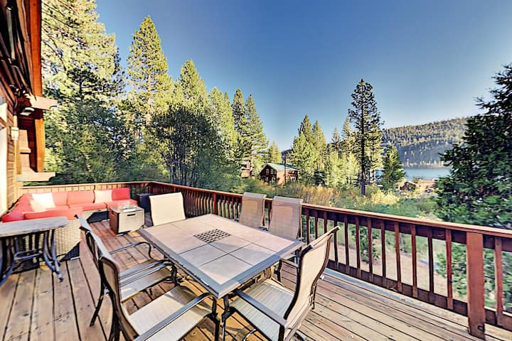 Donner Lake Basecamp with Luxe Deck & Water View