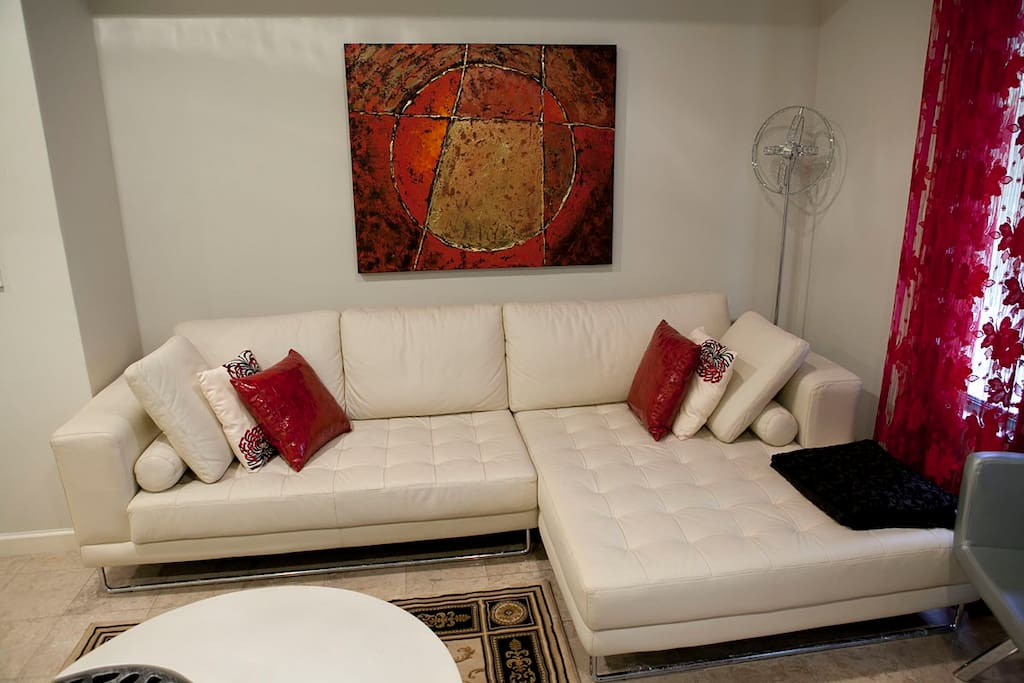 The sofa and chaise will comfortably accommodate four, with additional seating around the room.