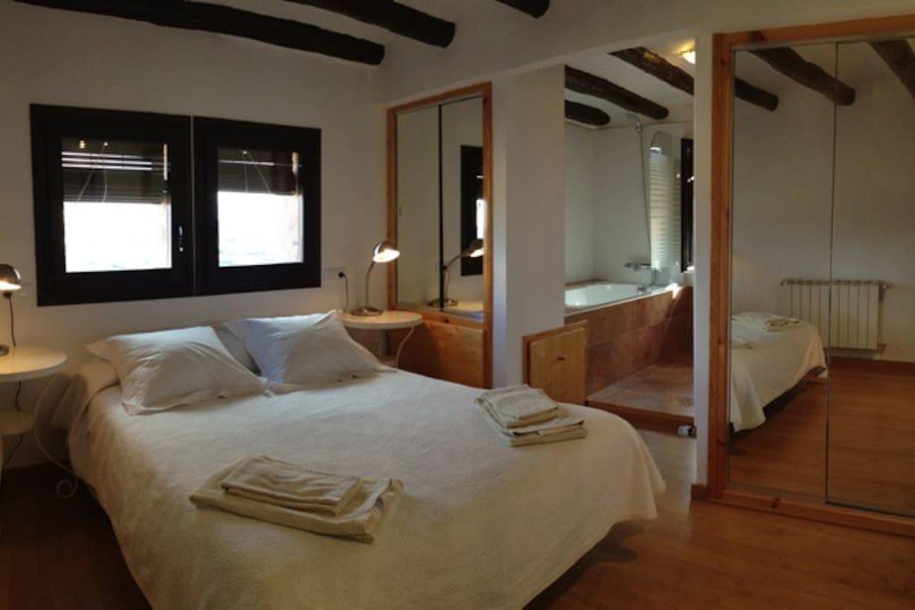 Habitaci n con jacuzzi en montsonis chambres d 39 h tes for Chambre d hote espagne