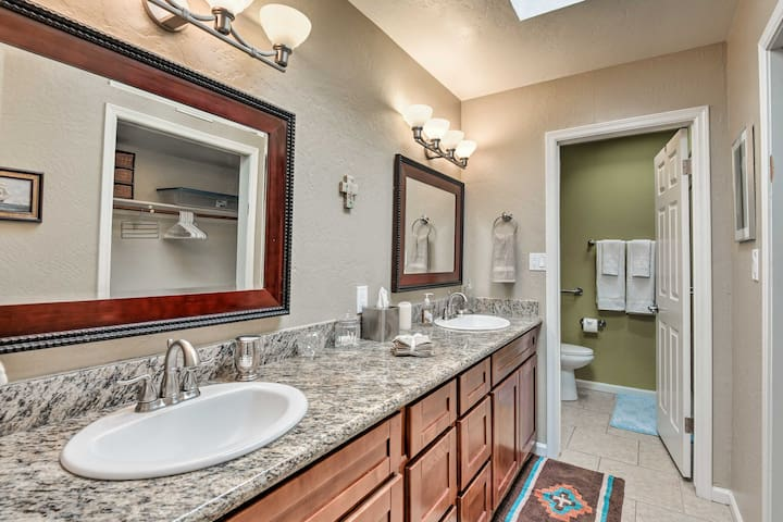 With a double vanity, you have room to spread out in the en-suite.
