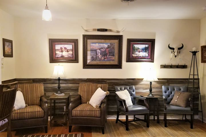 The Wild Wild West room has lot of seating with leather and fabrics to create the old west style.