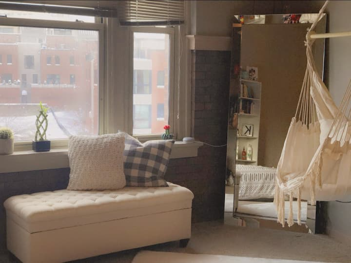 Boho loft studio with king bed in old market