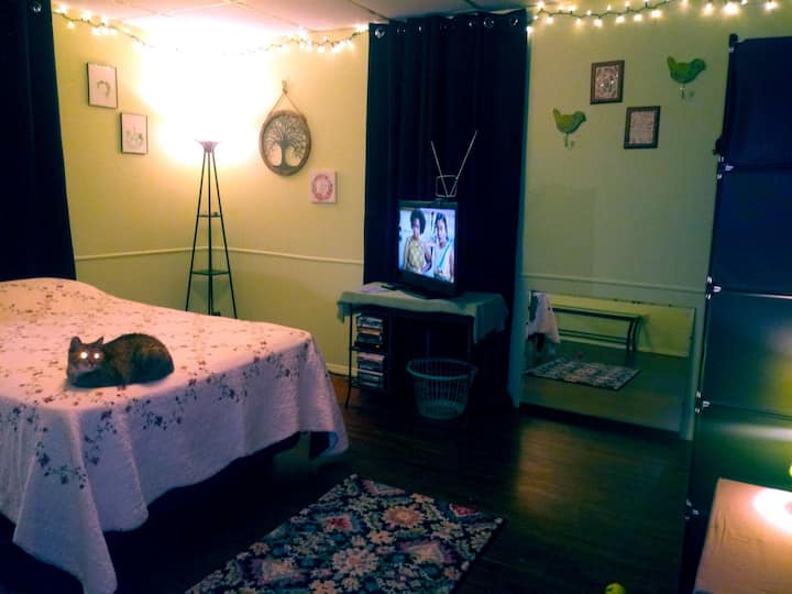 Room in simply humble country-hippy cat lover home
