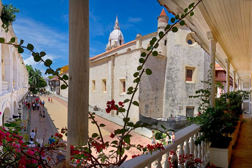 View from Casa Pombo to the main Cathedral of Cartagena