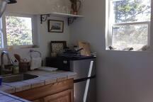 view of kitchenette- fridge,
