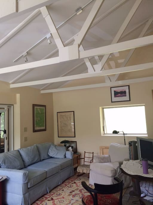 High ceiling makes for light and airy space