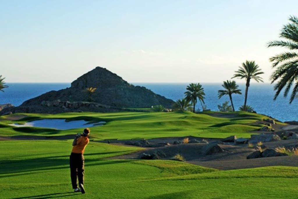 The seventh hole, with its amazing views over the sea