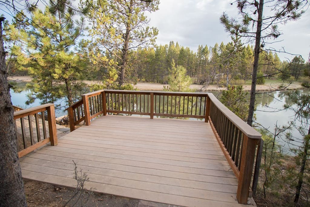 Private deck that leads down to the river.