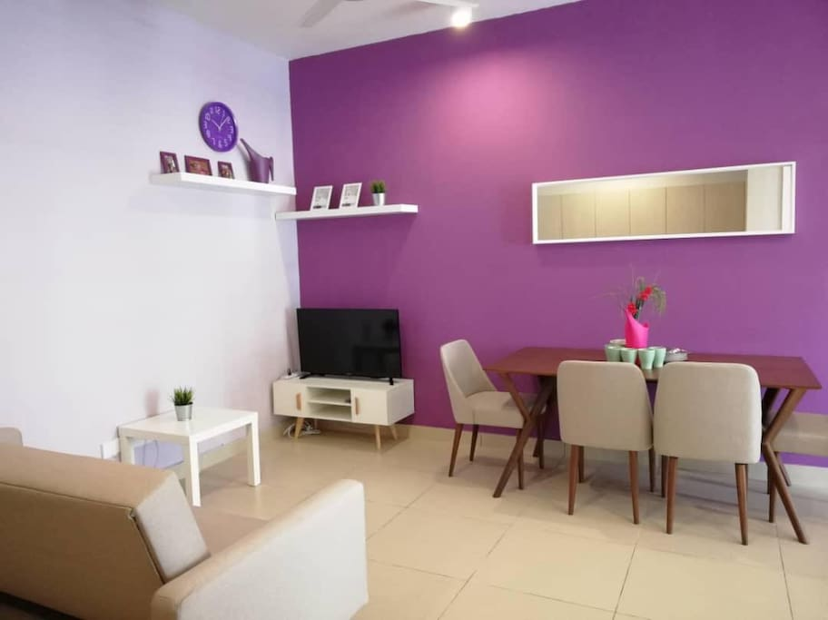 Living Hall w Sofa Bed & Dining Area
